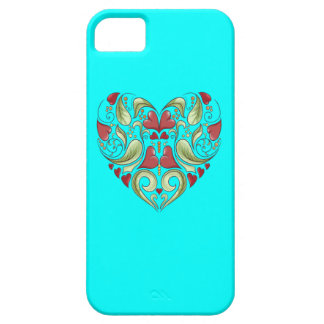 Hearts-In-Heart-On-Aquamarine-Blue-Pattern iPhone 5 Covers