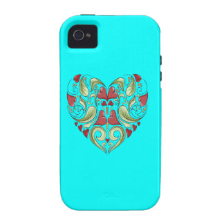 Hearts-In-Heart-On-Aquamarine-Blue-Pattern Vibe iPhone 4 Cases