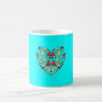 Hearts-In-Heart-On-Aquamarine-Blue-Pattern Coffee Mugs