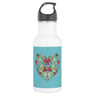 Hearts-In-Heart-On-Blue-Curacao-Pattern Stainless Steel Water Bottle