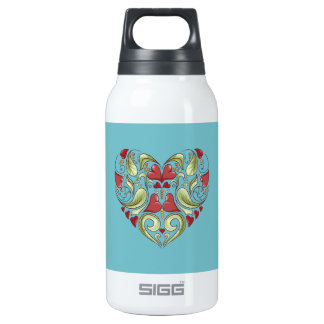 Hearts-In-Heart-On-Blue-Curacao-Pattern Thermos Water Bottle