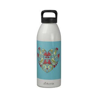 Hearts-In-Heart-On-Blue-Curacao-Pattern Water Bottles
