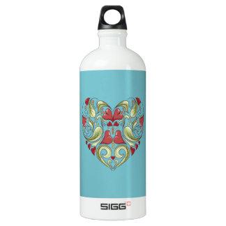 Hearts-In-Heart-On-Blue-Curacao-Pattern Water Bottle