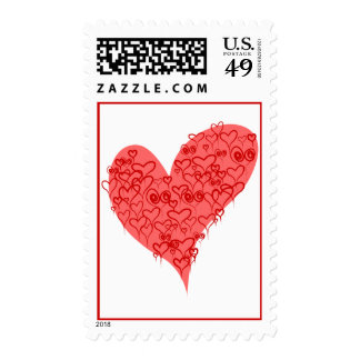 Hearts In Heart Wedding Postage Stamp