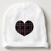 Hearts in Pink and Black Modern Plaid Netted Ombra Baby Beanie