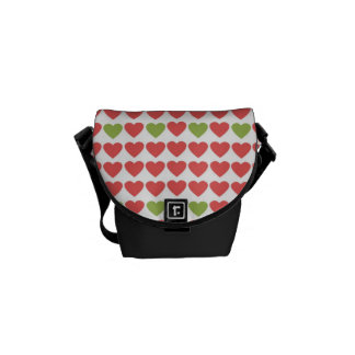 Hearts in Salmon and Olive Courier Bag