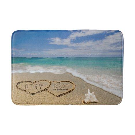 Hearts In Sand Beach Scene Bath Mat