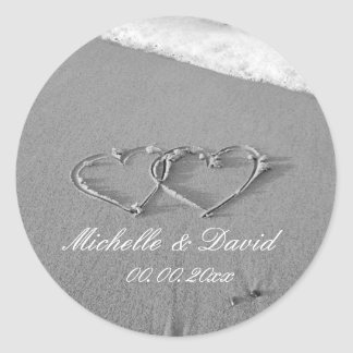 Hearts in sand beach wedding favor sticker & seals