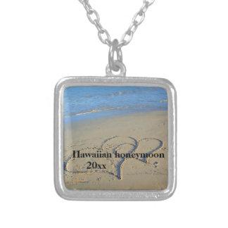 Hearts in Sand Hawaiian Honeymoon Silver Plated Necklace
