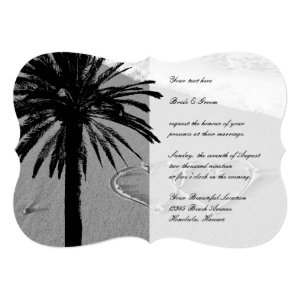 Hearts in sand tropical beach wedding invitations 5