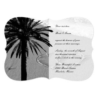 "Hearts in sand tropical beach wedding invitations 5"" x 7"" invitation card"