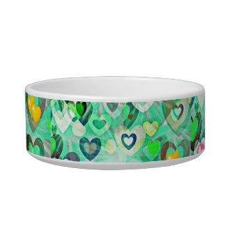 hearts in Sea Green Easter Art Pet food bowl