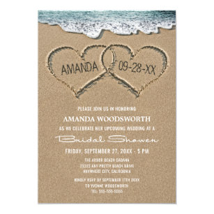 Hawaiian bridal shower invitations zazzle hearts in the sand beach bridal shower invitations filmwisefo