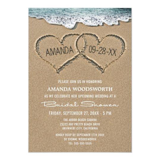 Hearts in the Sand Beach Bridal Shower Invitations Zazzlecom