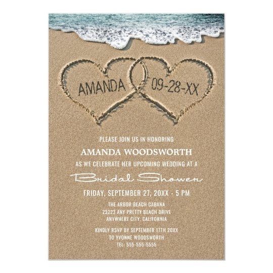 Hearts in the sand beach bridal shower invitations zazzle hearts in the sand beach bridal shower invitations filmwisefo