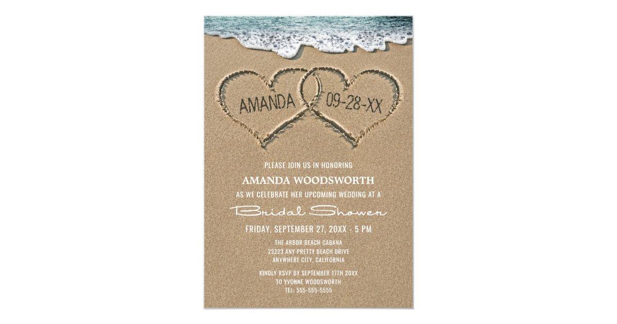 Hearts In The Sand Beach Bridal Shower Invitations Zazzle