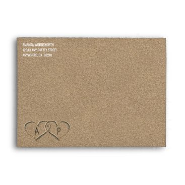 RusticWeddings Hearts in the Sand Beach Sand Wedding Envelopes
