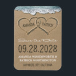 """Hearts in the Sand Beach Save the Date Magnets<br><div class=""""desc"""">Hearts in the Sand Beach Save the Date Magnets - ***ALSO NOTE THAT THIS DESIGN IS AVAILABLE IN SAVE THE DATE POSTCARDS AND POSTCARD SIZED MAGNETS AT CHEAPER COSTS. *** See the collection on this page to view those products. Design features hearts in the sand that you can &quot;carve&quot; or...</div>"""