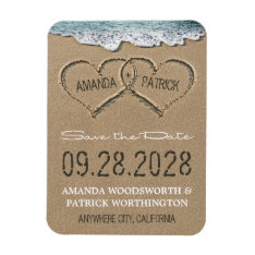 Hearts In The Sand Beach Save The Date Magnets at Zazzle