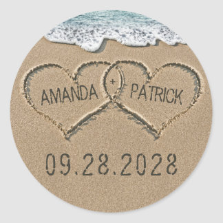 Hearts in the Sand Beach Shore Wedding Favor Classic Round Sticker