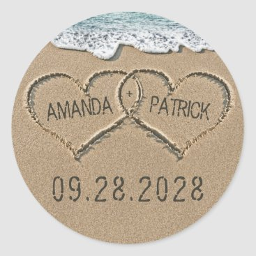 RusticWeddings Hearts in the Sand Beach Shore Wedding Favor Classic Round Sticker