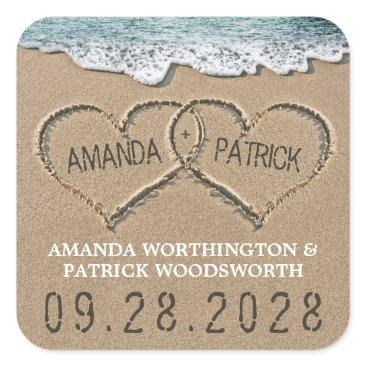 RusticWeddings Hearts in the Sand Beach Shore Wedding Favor Square Sticker