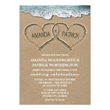 Hearts in the Sand Beach Shore Wedding Invitations