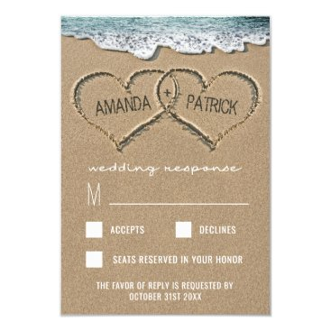 RusticWeddings Hearts in the Sand Beach Shore Wedding RSVP Cards