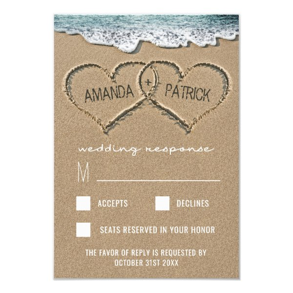 Hearts in the Sand Beach Shore Wedding RSVP Cards