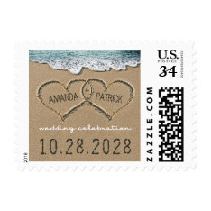 Hearts In The Sand Beach Shore Wedding Stamps at Zazzle
