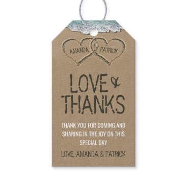 RusticWeddings Hearts in the Sand Beach Shore Wedding Thank You Gift Tags
