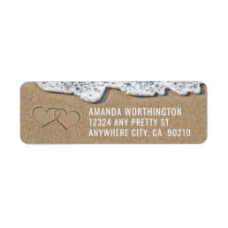 Hearts in the Sand Beach Wedding Address Labels