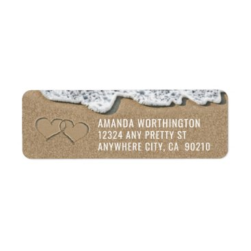 RusticWeddings Hearts in the Sand Beach Wedding Address Labels