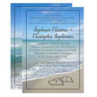 Hearts in the Sand Beach Wedding Custom Monogram Invitation