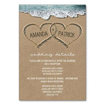 RusticWeddings Hearts in the Sand Beach Wedding Enclosure Cards