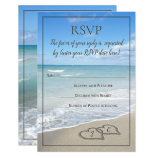 Hearts in the Sand Beach Wedding Monogram RSVP Invitation