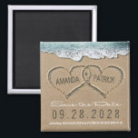"""Hearts in the Sand Beach Wedding Save the Date Magnet<br><div class=""""desc"""">Hearts in the Sand Beach Wedding Save the Date Magnets - features hearts in the sand that you can &quot;carve&quot; or &quot;write&quot; your own names into. See the full matching collection in this design found on this page.</div>"""