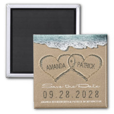 Hearts In The Sand Beach Wedding Save The Date Magnet at Zazzle