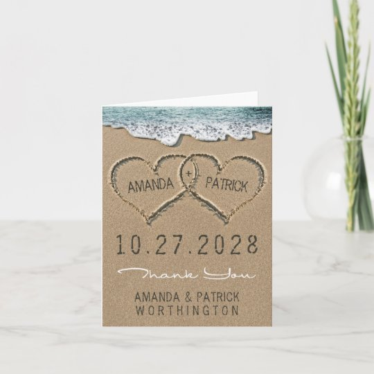 Hearts In The Sand Beach Wedding Thank You Cards