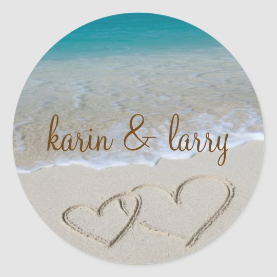 Hearts in the Sand Classic Round Sticker