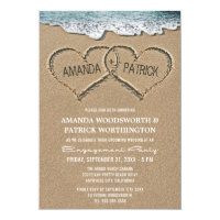 Hearts in the Sand Engagement Party Invitations