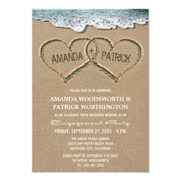 RusticWeddings Hearts in the Sand Engagement Party Invitations