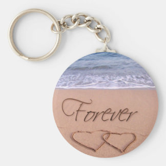 Hearts in the sand forever key chains
