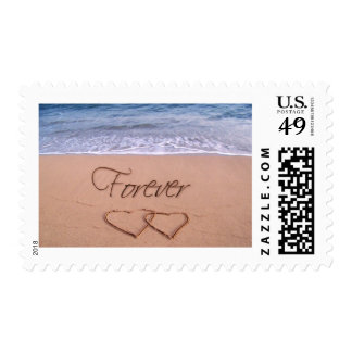 Hearts in the sand forever stamp