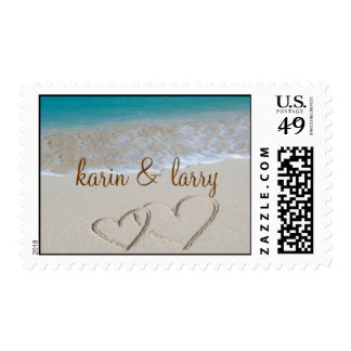 Hearts in the Sand - Personalized Stamp