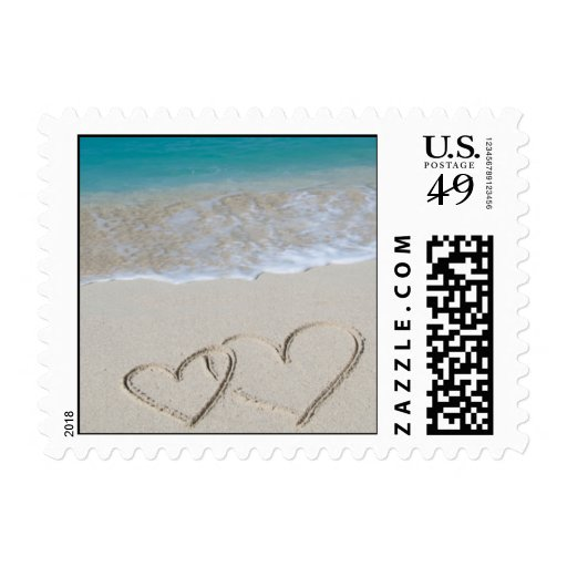 Hearts in the Sand Postage Stamp