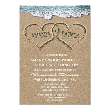 RusticWeddings Hearts in the Sand Rehearsal Dinner Invitations