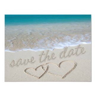 """Hearts in the Sand """"Save the Date"""" 4.25"""" X 5.5"""" Invitation Card"""
