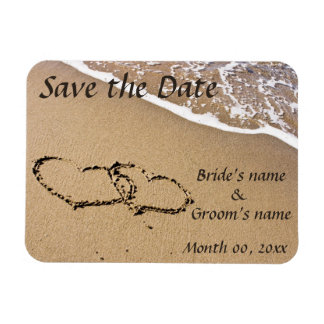 Hearts in the Sand Save the Date Magnets