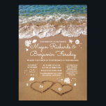"""Hearts in the Sand Summer Beach Wedding Card<br><div class=""""desc"""">Fully customizable beach wedding invitation with the bride&#39;s and groom&#39;s initials in the sand hearts. Please push the &#39;customize&#39; button to edit the font,  move all the seashells,  sand dollars,  sea pearls etc.</div>"""
